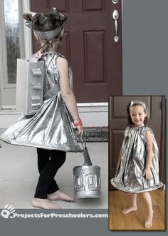 diy space girl costume - 1 Large lawn trash bag (Force Flex lawn bag has this cool texture) - Krylon's Fusion hammered silver spray paint - Make sure you use the plastic Fusion paint - 2 wire hangers (or plastic hoola hoop)- standard duct tape-Capri sun box for jet pack-Large apple juice bottle for trick-or-treat bucket-I think it would be really fun to attach some battery lights to the inside of this dress, bucket and the jetpack!