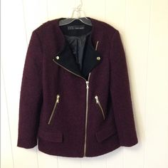 Zara burgundy jacket with contrasting lapels It's a boucle textured jacket. Very beautiful color with gold-tone zippers. Bought from another posher but haven't managed to wear it. Zara Jackets & Coats