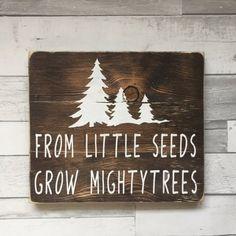 Little Seeds Grow Mighty Trees Sign Nursery Sign Rustic Nursery Handmade Sign Country Nursery Boys Nursery Baby Shower Gift Woodland Nursery Prints, Forest Nursery, Woodland Nursery Decor, Rustic Nursery Boy, Nursery Signs, Nursery Themes, Nursery Ideas, Room Ideas, Art Deco