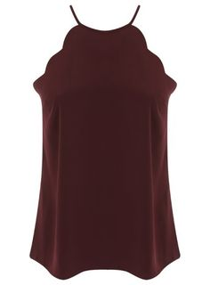 Petites Burgundy Scallop Cami - Miss Selfridge Miss Selfridge, Cami, Asos, Burgundy, High Neck Dress, My Style, Shopping, Collection, Dresses