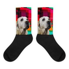 Socks with Golden Retriever and an Abstract background