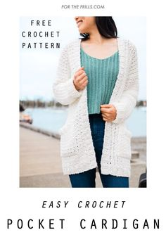 Crochet Cardigan Pattern Free Women, Knit Cardigan Pattern, Diy Crochet Cardigan, Easy Sweater Knitting Patterns, Crochet Patterns Free Women, Easy Crochet, Tutorial Crochet, Crochet Top, Crochet Woman