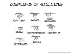 Hetalia eyes - If divided into two categories, they would be the normal ones. Italy falls under his own category. Drawing Tips, Drawing Reference, Drawing Stuff, Drawing Tutorials, Hetalia Axis Powers, Usuk, Fandoms, Art Tips, Fangirl