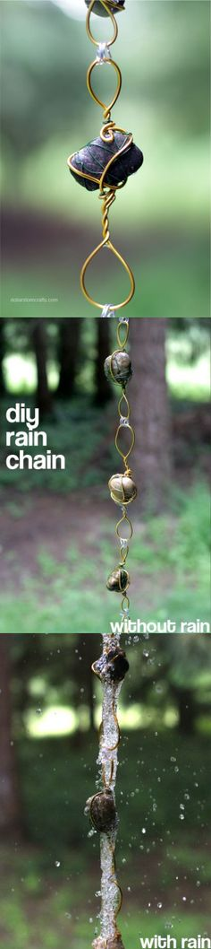 Rain Chain- make one using stones from various vacations Rain Chain Diy, Rain Chains, Gutter Chains, Wiccan, Magick, Witchcraft, Meditation Garden, Wire Crafts, Rock Crafts
