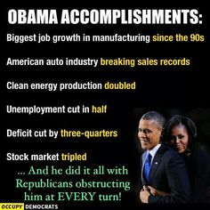 Viral graphic purports to list United States President Barack Obama's economic achievements while in office.