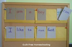 Pocket Charts DIY -- Making sentences with word cards and paper pockets (GFHS blog post w/many ideas)