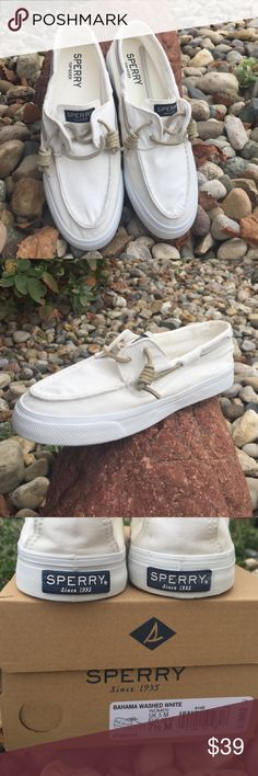 Sperry Boat ⛵️ Shoes These are a BRAND NEW, NEVER WORN pr of soft white boat shoes.  I assure you these are in clean, perfect condition.  They call these Bahama Washed white because they're made to look casual.  They are very soft and comfortable.  They'd be perfect with shorts or comfy 👖 jeans! 😉 Includes shoe box in perfect condition.  Would make a great Christmas 🎄 Gift! 🤗🎁 Sperry Shoes Athletic Shoes