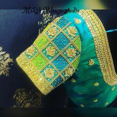 Thread work for client Divya 💚💚💚💚💚💚 Wedding Saree Blouse Designs, Pattu Saree Blouse Designs, Blouse Designs Silk, Designer Blouse Patterns, Kids Blouse Designs, Simple Blouse Designs, Saree Accessories, Mirror Work Blouse Design, Aari Work Blouse
