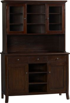 Cabria II Dark Buffet with Hutch Top in Dining, Kitchen Storage | Crate and Barrel