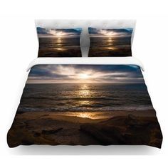 East Urban Home La Jolla Sunset on Beach by Nick Nareshni Featherweight Duvet Cover Size: Queen