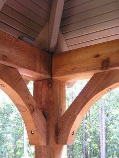 New House Journal: Timber Frame Front Porch Cedar beams, post and brackets Veranda Design, Front Porch Design, Front Porch Posts, Front Porch Columns, Porch Roof, Craftsman Front Porches, Porch Awning, Cedar Posts, Building A Porch