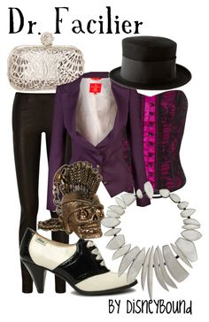 This would be a great outfit for going out. This site has some wonderfully quirky, fun and real world wearable outfits inspired by Disney. Facilier would make a great costume. K Fashion, Fashion Fantasy, Fandom Fashion, Robes Disney, Disney Dresses, Disney Clothes, Disney Costumes, Villain Costumes, Halloween Costumes
