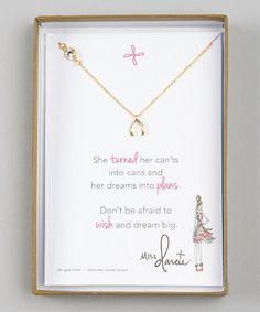 Look at this #zulilyfind! Gold Miss Darcie Wishbone Pendant Necklace #zulilyfinds