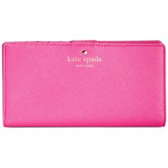 kate spade new york Cedar Street Stacy Wallet ($100) ❤ liked on Polyvore featuring bags, wallets, vivid snapdragon, genuine leather bag, pink leather bag, color block bag, kate spade bags and real leather bags