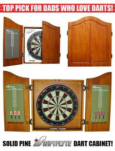 """Our top pick for Dads who love darts is: Dart Cabinet Solid Pine Buy now: http://mindgames.ca/dart-cabinet-solid-pine  Turn your garage, den, or basement into party central without sacrificing your design aesthetic with this attractive bristle dart board set. The board, which comes housed in a solid pine cabinet, is made of a high-grade, """"self-healing"""" sisal that looks smooth and lasts for years.   Find All Our Dart Products: http://mindgames.ca/darts"""