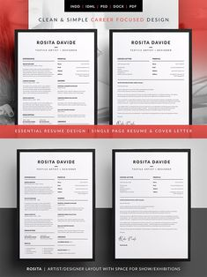 Essential Resume - Rosita --- Clean & Simple Career Focused Design The design of this exclusive template has a career in mind but even if you're not looking for Cv Design, Resume Design, Design Layouts, Graphic Design, Cv Template, Resume Templates, Design Typography, Lettering, Websites Like Etsy