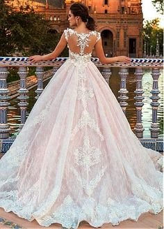 Gorgeous Tulle & Satin Bateau Neckline A-Line Wedding Dresses With Beaded Lace Appliques