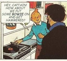 "Tintin and the Picaros; ""only Tintin can be so subtle! Vinyl Record Player, Record Players, Vinyl Records, Haddock Tintin, Beatles, Captain Haddock, Herge Tintin, Ligne Claire, Vinyl Junkies"