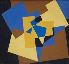 Composition, 1974  Acrylique sur toile  Monogrammée et datée '74' en haut à gauche, signée et datée '20-2-74' au dos  113 x 124 cm.  (Usures)