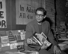 Allen Ginsberg at City Lights Bookstore in photographed by Joe Rosenthal.