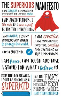 The Superkids Manifesto! Transform the way you think about your child's behaviors, connect on a whole new level, and discover the confidence that comes along with understanding what it takes to raise a superkid with the revolutionary book, The Superkids Activity Guide to Conquering Every Day (affiliate)