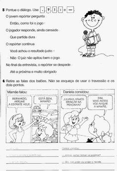 Atividades de português 2 ano fundamental pontuação Primary School, Bullying, Study, Teaching, Activities, Writing, Comics, Sistema Solar, Veronica