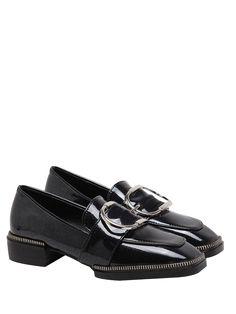 38016d4de27112 Buckle Strap Square Toe Flat Shoes - BLACK 38 Cute Flats
