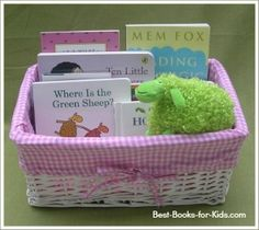 cool baby gifts, baby book gift basket. I LOVE THIS BASKET JUST TWEEK TO SCHOOL COLORS