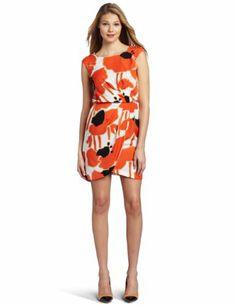 Jessica Simpson Women's Cap Sleeve Pleat Front Dress with Button Shoulder Detail: Amazon.com: Clothing