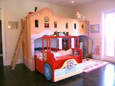 Awesome Cool Bedroom Kids Decorating Design Ideas Brown Furniture with Bunk Beds and there is a Red Car Shaped Brown Beautiful Wooden Floors also Solid Black