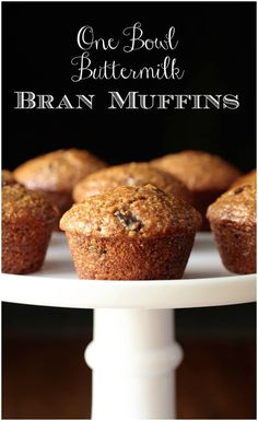 Super moist and delicious, these easy One Bowl Buttermilk Bran Muffins roll out of the oven with rounded, bakery-style, tops! #branmuffins, #easybranmuffins, #easymuffins, #healthymuffins, #onebowl via @cafesucrefarine