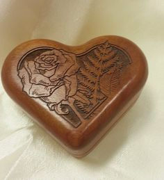 Heart Shaped Carved Wooded Trinket Box