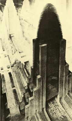 Hugh Ferriss (1889 – 1962) was an American delineator (one who creates drawings and sketches of buildings) and architect. After his death a colleague said he 'influenced my generation of architects' more than any other man. Ferriss also influenced popular culture, for example Gotham City (the setting for Batman) and Kerry Conran's Sky Captain and the World of Tomorrow.
