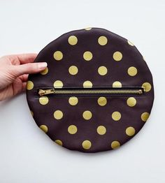 Gold Polka Dot Leather Pouch