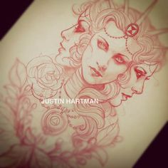 """From the story """"Tattoo sketch"""" by JustinHartmanArt.  Great idea for a """"triple goddess"""" tattoo"""