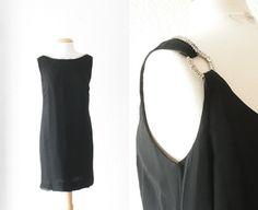 1960s rhinestone little black cocktail dress by SchoolofVintage, $49.00