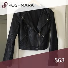 TOPSHOP faux leather jacket classic leather jacket style from TOPSHOP. faux leather is peeling in a few spots (notes in pics), but mostly goes unnoticed while worn! Topshop Jackets & Coats
