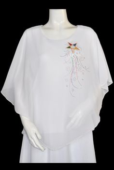 White Poncho Top with Camisole and Eastern Star Logo. Matching Skirts available.