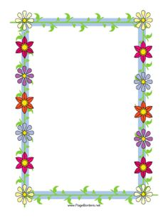 This Floral Border Includes Several Brightly Colored Flowers Straight From  The Garden. Free To Download. Page BordersFloral BorderMicrosoft ...