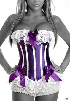 Corsets:  Purple Striped Corset with Purple Bows and White Ruffles.