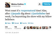 This is just perfect. And can I just say how much I love this fandom? We always fight about ships and subtext but at the end of the day, all the fans are so devoted and talented and we made it the most watched episode in three years with higher ratings than the other shows playing that night. Jared and the rest of the Supernatural cast know we have their backs and that we will never stop loving this painful, beautiful, hilarious, intense, freaking wonderful show:)