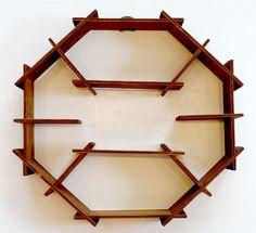 ANTIQUE Vintage ART DECO Wood WHATNOT WALL SHELF Display Rack MID-CENTURY MODERN