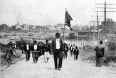 Sept. 10, 1897 - LATTIMER MASSACRE: Striking immigrant anthracite coal miners raise an American flag and march on the still-open mine in Lattimer, Pennsylvania. They were met by the local sheriff and Coal and Iron Police deputies. The sheriff ordered the workers to disperse and the deputies opened fire, killing 19 and wounding as many as 49 others. All those killed in the Lattimer Massacre were shot in the back; the sheriff and 73 deputies were arrested, tried, and acquitted.