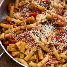A big dish of rigatoni rolled around in tomato sauce, sweet basil, parmesan, mozzarella cheese -  it's definitely the best thing ever.