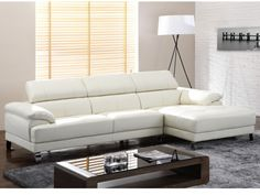 Canapé d'angle en cuir EXCELSIOR II - Blanc - Angle droit