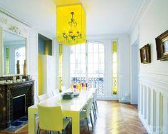An unexpected twist on an antique chandeliers - designer Christophe Périchon encased this one in a transparent cube.