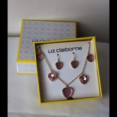 Liz Claiborne necklace and earring set Pink heart shaped necklace and earring set - gold plated chain - adjustable chain - never worn - comes with box Liz Claiborne Jewelry Necklaces