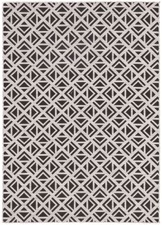 Bold and graphic, the Decora collection designed by Nikki Chu offers compelling geometric appeal to indoor and outdoor spaces. The Tanith rug features a dynamic repeat pattern of triangular shapes, captivating in a black and gray colorway for added depth and dimension. This polyester accent is durable and weather-resistant, perfect for high-traffic areas and outdoor living.