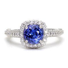 Tanzanite Ring Tanzanite Engagement Ring Diamond Halo December Birthstone Ring by RareEarth, $3444.00  | Rare Earth Jewelry www.rareearthjewelry.com