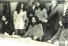 Lon Van Eaton At Apple Studios: Attending Apple's new studio opening in 1971 are Derrek (left, standing) and Lon Van Eaton (center, standing) and (seated, from left) Klaus Voorman, George Harrison and Badfinger's Pete Ham.